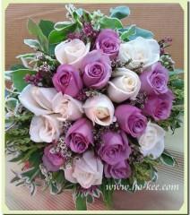 W003-紫白玫瑰花球
