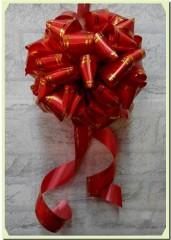 R001金邊紅絲帶剪綵花球