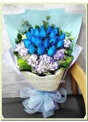 BR007 18枝藍玫瑰花束