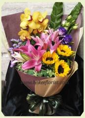 BO010-黃蕙蘭百合向日葵花束