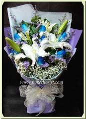 BL010-百合藍玫瑰花束