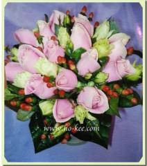 W004-粉紅玫瑰花球