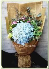 BH001-藍繡球桔梗花束