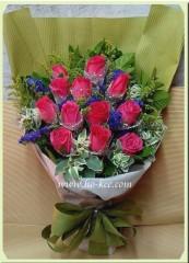 BR001-12枝桃紅玫瑰