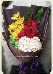 BO009-黃蕙蘭繡球玫瑰花束