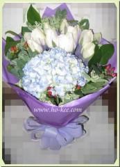 BH004-藍繡球白玫瑰花束