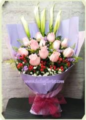 BR017-粉玫馬蹄蘭花束