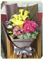 BO003-荷蘭繡球黃馬蹄花束